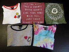 (5) Jrs Rue 21 American Dream Modern Lux Earthbound Crop Hi-Lo Tops T-shirts -M-