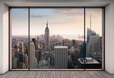 Wall Mural, Photo Wallpaper Penthouse New York, Manhattan Loft, View to Empire State Building, Skyline New York Penthouse, Duplex New York, Penthouse Photos, Penthouse Apartment, Luxury Penthouse, Nyc Apartment Luxury, City View Apartment, Penthouse Suite, Photo Wallpaper