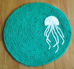 Jelly fish rug crocheted from recycled t-shirts