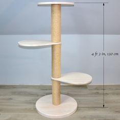 Solid Organic Wood Cat Tree in White Basic Scandinavian Cat Gym, Cat Perch, Wood Cat, Cat Towers, Sisal Rope, Cat Scratcher, White Chalk Paint, Cat Condo, Unique Cats