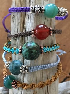 Macrame Bracelets, beads with metal, MacrameByTeresa, variety of colors and stones available