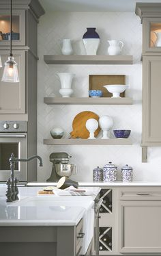 Personalize your space with trendy open shelving. Displaying a few simple pieces can give your kitchen fresh style as the seasons change. Wine Storage Cabinets, Kitchen Shelves, Kitchen Inspiration, Design Inspiration, Laminate Cabinets, Quality Cabinets, Grey Kitchens, Clever Design, Open Shelving