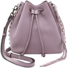 Pre-owned Rebecca Minkoff New Unlined Drawstring Bucket Antique... (345 CAD) ❤ liked on Polyvore featuring bags, handbags, shoulder bags, mauve, bucket bag, studded purse, bucket shoulder bag, bucket bag purse and antique purse