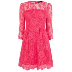 Karen Millen Beautiful Lace Dress, Fuchsia (1 035 PLN) ❤ liked on Polyvore featuring dresses, pink, vestidos, short dresses, fit flare dress, long-sleeve mini dress, lace midi dress, long sleeve dress and short sleeve dress