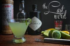 The Last Word Cocktail ¾ oz. Hendrick's gin ¾ oz. green Chartreuse ¾ oz. maraschino liqueur, like Luxardo ¾ oz. fresh lime juice twist of lime for garnish Vigorously shake all ingredients together with ice. Strain into a martini glass or a coupe and garnish with lime twist.