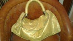Authentic Designer Leather R&Y Augousti Ladies Shoulder Bag Yellow/Gold Large #RYAugousti #Hobo