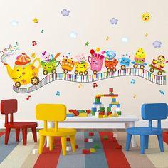 #BangGood - #Eachine1 Kids Room Cute Anmials Wall Stickers Happy Anmials Musical Keyboard Room Decor - AdoreWe.com