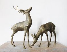 Brass Deer Figurines.  (http://www.etsy.com/shop/RustBeltThreads?ref=seller_info), discovered via Apartment Therapy