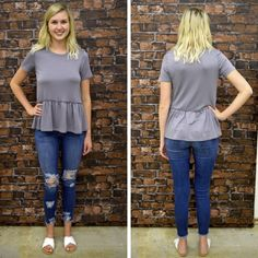 STEEL GREY PEPLUM CREW T SHIRT - $18   #summerfashion #newarrival #ootd #shoplocal #shopaldm #fashion #ontrend  #apricotlanedesmoines #shopaldm