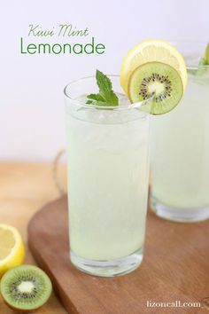 Kiwi Mint Lemonade - a fun twist on a classic drink