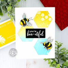 Hexagon Cards, Bee Cards, Hero Arts, Art Blog, You And I, Giveaway, January, Greeting Cards, Kit
