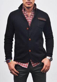 Men's Navy Knit Cardigan, Red Check Shirt, & Dark Denim Jeans.  Men's Spring Summer Fashion.