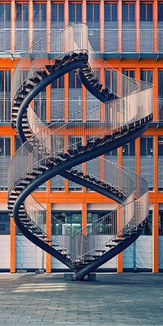 The stairway is Art. Artist Olafur Eliasson created this steel sculpture called Umschreibung (Rewriting) in 2004 for the KPMG building in Munich.