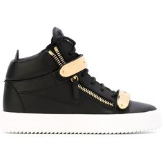 Giuseppe Zanotti Design London Mid-Top Sneakers (18,170 MXN) ❤ liked on Polyvore featuring shoes, sneakers, black, black leather shoes, black flat shoes, high top shoes, black shoes and leather high tops