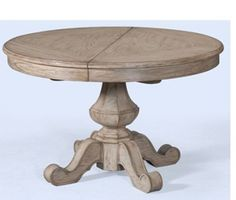 24032-600-068 Bedford Ridge Dining Table with Extension Pedestal Base and Carved Wood Detailing in a White