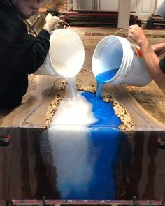 Favorite Farmhouse Trestle Tables (& Progress on Our Kitchen Banquette) Epoxy Wood Table, Epoxy Resin Table, Epoxy Resin Art, Diy Resin Art, Diy Resin Crafts, Wood Crafts, Woodworking Projects Diy, Diy Wood Projects, Epoxy Countertop