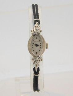 14k white gold wittnauer diamond mechanical handwind watch with 14k white gold ladies wittnauer diamond mechanical watch with cord band 17544 sciox Choice Image