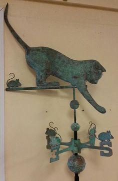 Antique Weathervanes | Beautiful Large Antique Cat Copper Weathervane All Parts Roof Mount ...