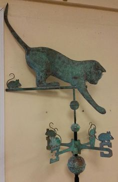 Beautiful Large Antique Finish Cat And Copper Weathervane,complete With Roof Mt