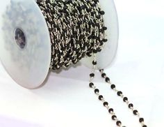 60% off on 5 feet Black Spinel Beads in Rosary Brass Chain 2.5 to 3 MM  Silver…