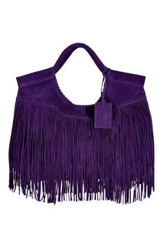Ralph Lauren Collection Shoulder bags for Women : Purple Double Handle Fringed Suede Tote - Lyst The Purple, All Things Purple, Shades Of Purple, Purple Stuff, Purple Purse, Purple Bags, Purple Handbags, Purple Shoes, Fringe Bags