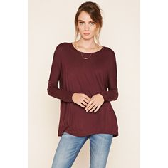 LOVE21 Contemporary Dolman Top ($13) ❤ liked on Polyvore featuring tops, aubergine, long sleeve dolman tops, dolman tops, red dolman top, love 21 and red dolman sleeve top