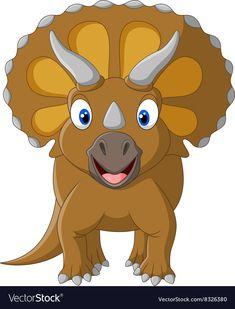 colorful animal art - Cute Triceratops three horned vector image on Dinosaur Crafts, Dinosaur Art, Cute Dinosaur, The Good Dinosaur, Colorful Animals, Cute Animals, Dinosaur Images, Dinosaur Coloring Pages, Cartoon Monsters