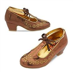 Disney Elena of Avalor Costume Shoes for Kids Size YTH Gold: Golden floral embroidery and faux-leather trims accent these fanciful heeled shoes that coordinate with our Elena of Avalor Costume Collection. Kids Clothing Brands List, Cheap Kids Clothes Online, Kids Clothing Rack, Kids Clothes Sale, Clothing Websites, Sock Shoes, Kid Shoes, Girls Shoes, Ladies Shoes
