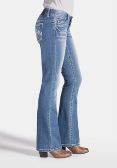 Kaylee contrast stitch bootcut jeans in medium wash | maurices