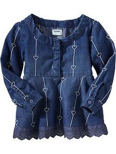 Embroidered-Chambray Peplum Shirts for Baby | Old Navy