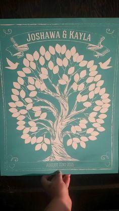Chalkboard Wedding Tree | Guest Book Alternative | Rustic Wedding | Customer Photo | Wedding Color - Teal | peachwik.com
