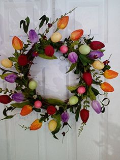 Colorful Tulip Wreath Spring Wreath With Easter Eggs and Flowers WTH http://www.amazon.com/dp/B01BLTGVTM/ref=cm_sw_r_pi_dp_PK-Uwb0B4NX3T