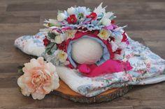 Sitter Flower Bonnet Vintage quilt set RTS by LouLouBoutiquee