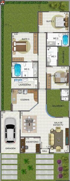 Casa 3 Quartos - 155.62m²: Vivienda de una planta 3 habitaciones buena distribucion