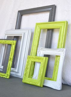 ON HOLD....Lime Green Grey Gray White Ornate Frames by BeautiSHE