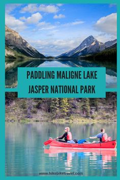 Maligne Lake in Jasper National Park is one of the prettiest paddling trips you'll ever do. While you can go for a day even better book campsites for a couple of nights and paddle to the end of the lake Jasper National Park, Banff National Park, National Parks, Whitewater Kayaking, Canoeing, Alberta Travel, Discover Canada, Canoe And Kayak, Kayak Paddle