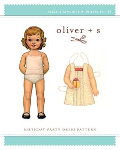 Birthday Party Dress from Oliver + S: Blow out the candles! Sleeveless A-line dress has three box pleats at center front with options of button tab or ties. Buttons at back, and our signature hem facing. Pattern details can be found at http://www.oliverands.com/patterns  /dresses/patterns6.phtml  Regular price is $16.00.  On sale at 40% off for $9.60 $9.60