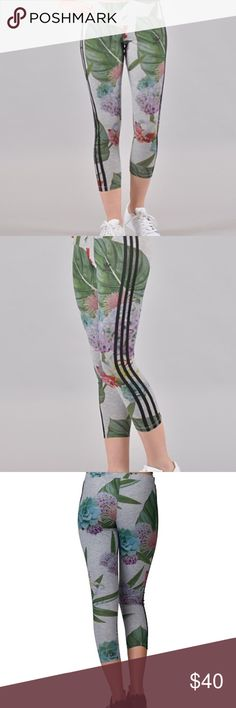 Adidas Originals Training Leggings Floral Stretch elastic waist. 3 Stripes detail. 94% Polyester and 6% Elastane. New without tags Adidas Pants Leggings