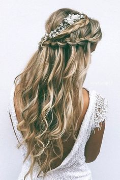 Hairstyles Diy And Tutorial For All Hair Lengths 048 - Bridesmaid hair - Wedding Haar Wedding Hairstyles For Long Hair, Wedding Hair And Makeup, Down Hairstyles, Girl Hairstyles, Hairstyles 2018, Fashion Hairstyles, Easy Hairstyles, Wedding Updo, Rustic Wedding Hair