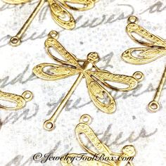 Filigree Dragonfly Necklace Connector, 22x25mm, 3 Loops, Raw Brass, Large, Made in the USA, Lead Free, Nickel Free, Lot Size 4 to 10, #10R