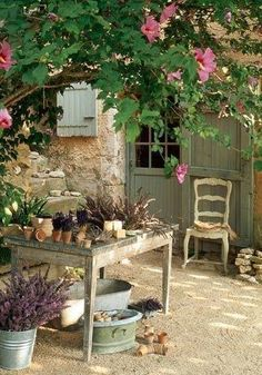 table under the shade of a tree in this lovely French cottage garden. Outdoor Rooms, Outdoor Gardens, Outdoor Living, Garden Cottage, Home And Garden, Shabby Chic Garden, Garden Living, French Cottage, French Country Style