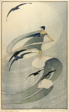 Bertha Lum, Wind sprite, 1920. Color woodcut. Via FAMSF
