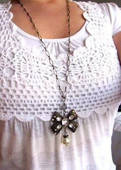 i may be ordering this =) Crochet Yoke, Crochet Fabric, Freeform Crochet, Crochet Blouse, Crochet Trim, Crochet Patterns, Crochet T Shirts, Crochet Clothes, Old Jewelry