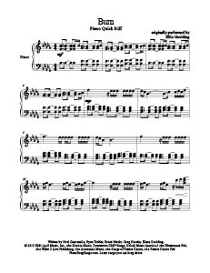Burn - Ellie Goulding. Download free sheet music for over 200 hit songs at www.PianoBragSongs.com.