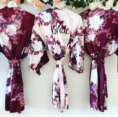 BLOSSOM personalised wedding robes, satin floral bridesmaid robe in burgundy, na. BLOSSOM personalised wedding robes, satin floral bridesmaid robe in burgundy, navy blush or champagne BLOSSOM bridal rob. Wedding Robe, Bridal Party Robes, Bridal Gifts, Wedding Gowns, English Wedding, Bridesmaids And Groomsmen, Bridesmaid Proposal, Maid Of Honor, Maid Of Honour Gifts