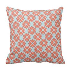 Sweet Coral Pink Heart Pattern on Sky Blue Throw Pillow
