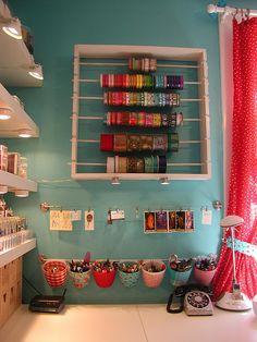 Creative and Inspiring Craft Room {Megan of Crafty Intentions} - Craft Storage Ideas Craft Room Storage, Craft Organization, Ribbon Organization, Craft Rooms, Space Crafts, Home Crafts, Craft Space, Ikea Lack Shelves, Ribbon Storage
