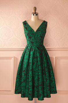 Robe de bal mi-longue jacquard vert - Black and green goth prom midi dress