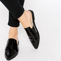 a1d52960 Comfortable Black Patent Leather Loafer Mules Pointy Toe Office Flats for  Women you best choice for Work, School -TOP Design by FSJ