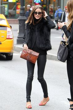 leather pants & fur vest